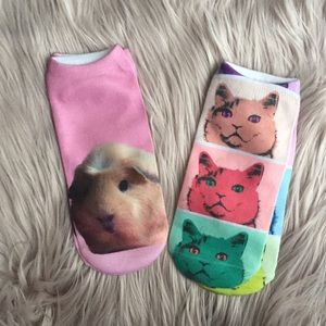 Two pairs cat and hamster ankle socks NEW